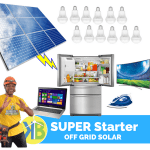 SUPER Starter Off Grid Solar Complete kit me 9 Panel nga KB Group